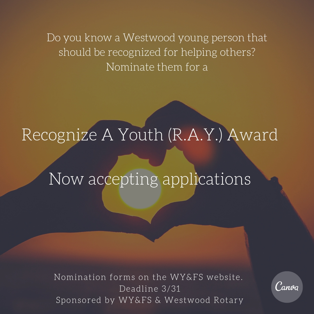 WY&FS and Westwood Rotary Recognize A Youth Award
