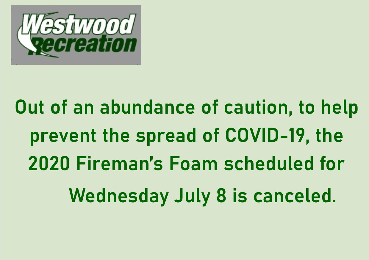 COVID cancel sign Firemans Foam